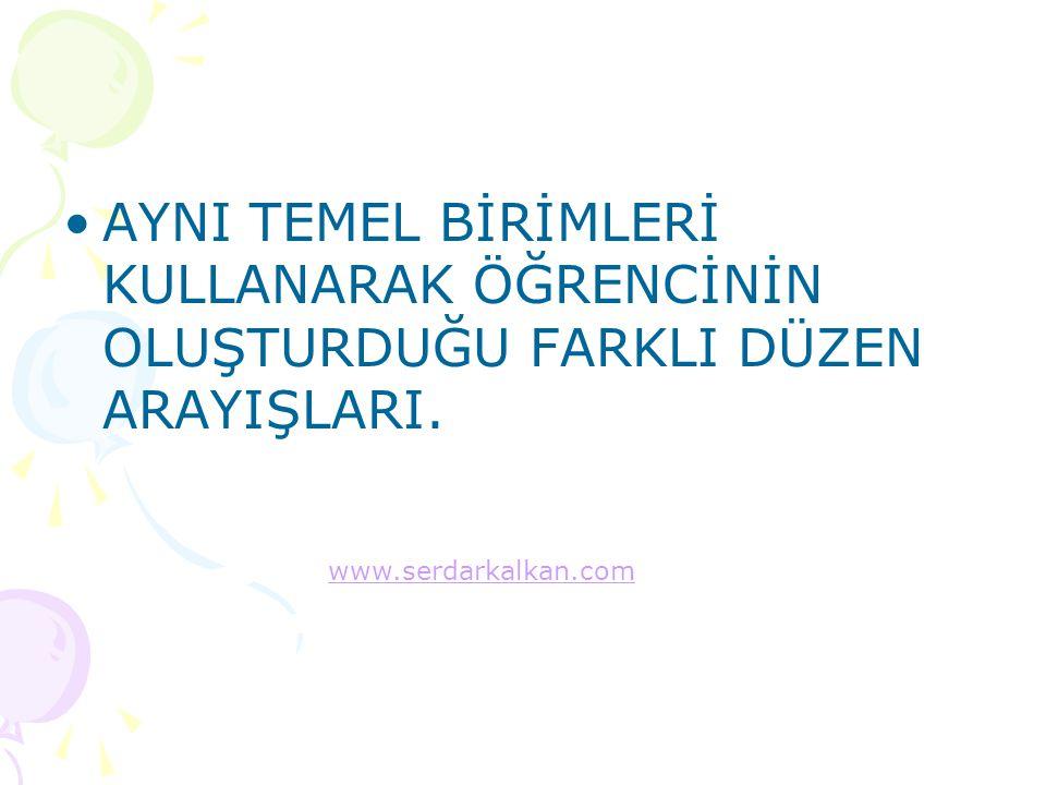 AYNI TEMEL BİRİMLERİ KULLANARAK ÖĞRENCİNİN OLUŞTURDUĞU FARKLI DÜZEN ARAYIŞLARI. www.serdarkalkan.com