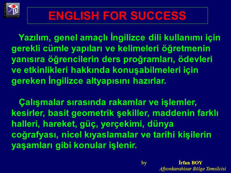 Yazılım, genel amaçlı İngilizce dili kullanımı için gerekli cümle yapıları ve kelimeleri öğretmenin yanısıra öğrencilerin ders proğramları, ödevleri v