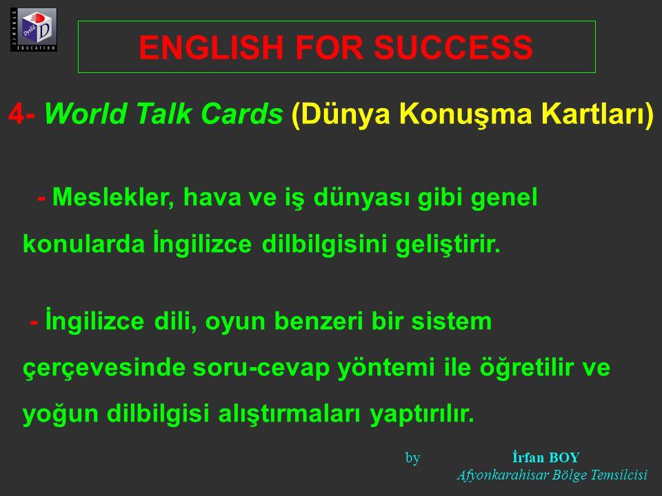 4- World Talk Cards (Dünya Konuşma Kartları) - Meslekler, hava ve iş dünyası gibi genel konularda İngilizce dilbilgisini geliştirir.