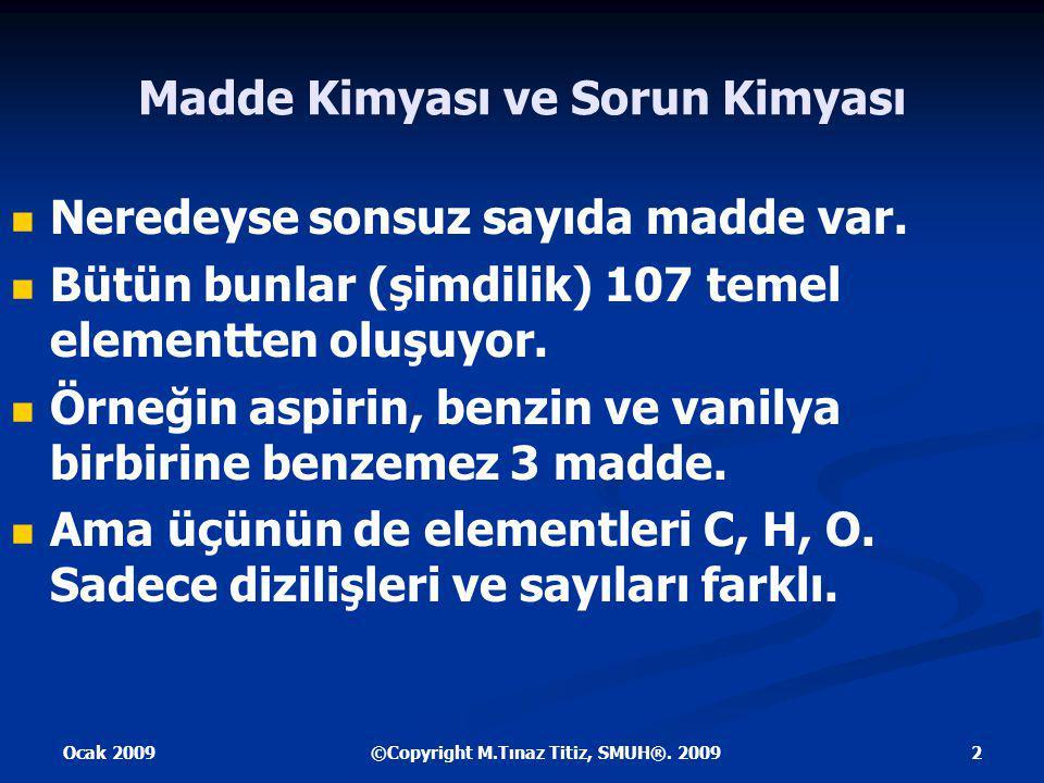 Ocak 2009 3©Copyright M.Tınaz Titiz, SMUH®. 2009 Vanilya C8H8O3 Aspirin CC9H8O4 HO Benzin C6H6