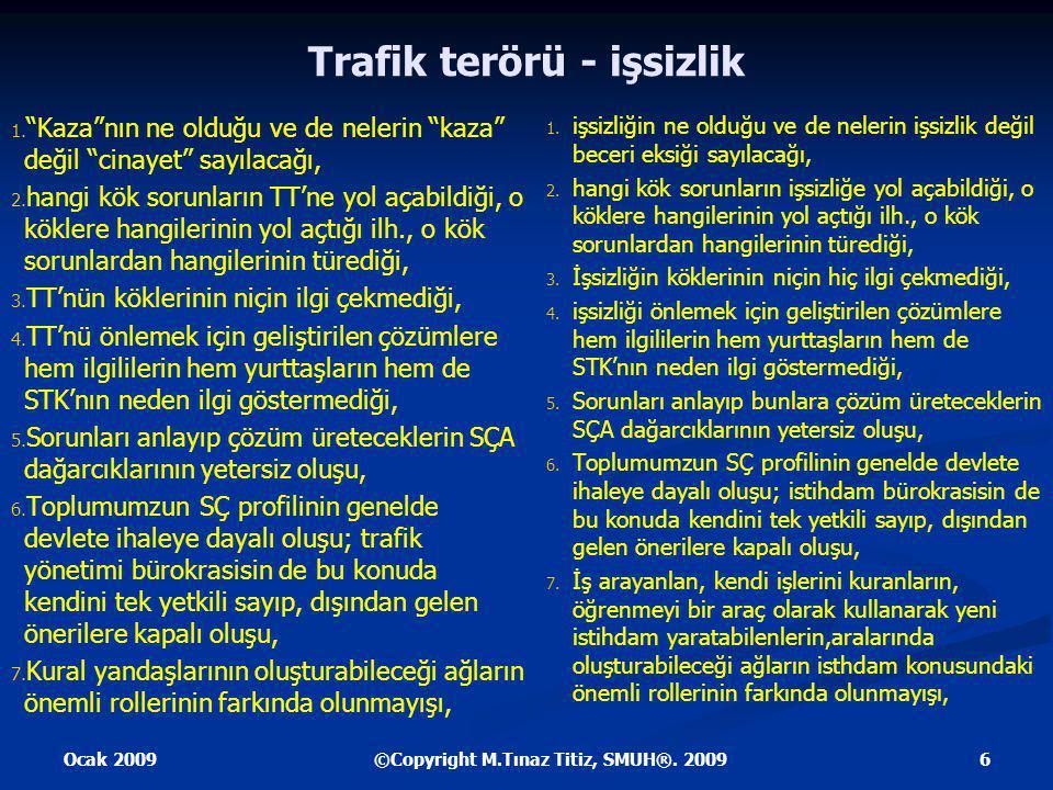 Ocak 2009 6©Copyright M.Tınaz Titiz, SMUH®. 2009 Trafik terörü - işsizlik 1.