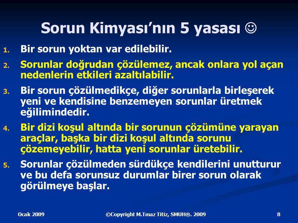 Ocak 2009 8©Copyright M.Tınaz Titiz, SMUH®. 2009 Sorun Kimyası'nın 5 yasası 1.