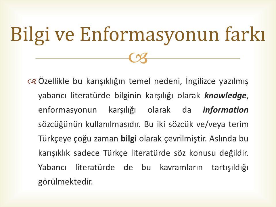   Özellikle bu karışıklığın temel nedeni, İngilizce yazılmış yabancı literatürde bilginin karşılığı olarak knowledge, enformasyonun karşılığı olarak da information sözcüğünün kullanılmasıdır.