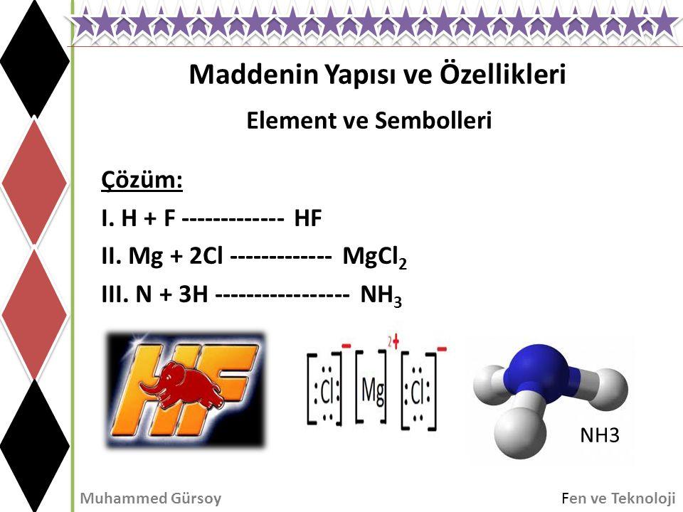 Maddenin Yapısı ve Özellikleri Muhammed GürsoyFen ve Teknoloji Element ve Sembolleri Çözüm: I. H + F ------------- HF II. Mg + 2Cl ------------- MgCl