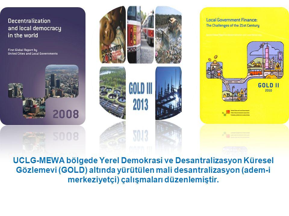 UCLG-MEWA bölgede Yerel Demokrasi ve Desantralizasyon Küresel Gözlemevi (GOLD) altında yürütülen mali desantralizasyon (adem-i merkeziyetçi) çalışmaları düzenlemiştir.