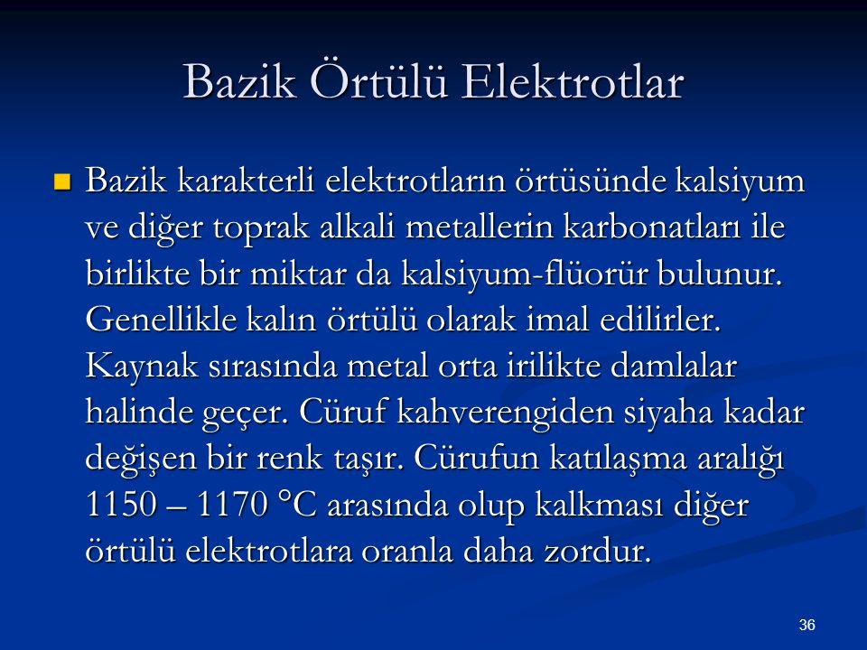 36 Bazik Örtülü Elektrotlar Bazik karakterli elektrotların örtüsünde kalsiyum ve diğer toprak alkali metallerin karbonatları ile birlikte bir miktar d