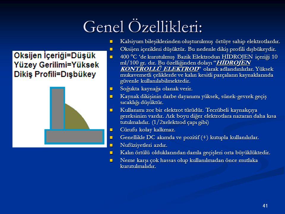 41 Genel Özellikleri: Kalsiyum bileşiklerinden oluşturulmuş örtüye sahip elektrotlardır. Oksijen içerikleri düşüktür. Bu nedenle dikiş profili dışbüke