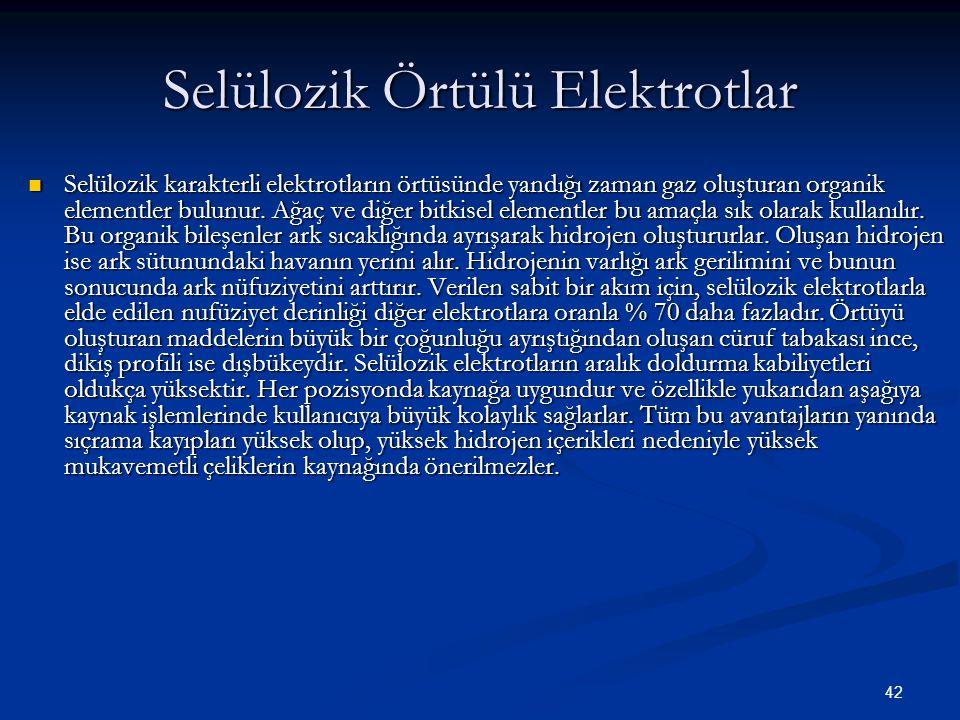 42 Selülozik Örtülü Elektrotlar Selülozik karakterli elektrotların örtüsünde yandığı zaman gaz oluşturan organik elementler bulunur. Ağaç ve diğer bit