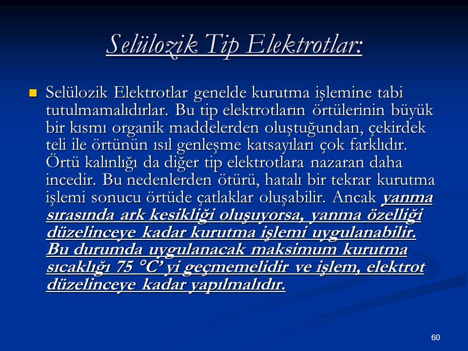 60 Selülozik Tip Elektrotlar: Selülozik Elektrotlar genelde kurutma işlemine tabi tutulmamalıdırlar. Bu tip elektrotların örtülerinin büyük bir kısmı