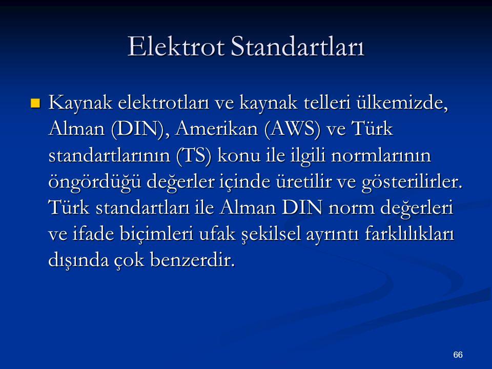 66 Elektrot Standartları Kaynak elektrotları ve kaynak telleri ülkemizde, Alman (DIN), Amerikan (AWS) ve Türk standartlarının (TS) konu ile ilgili nor
