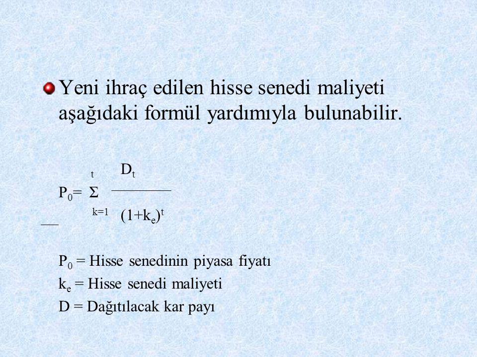 Yeni ihraç edilen hisse senedi maliyeti aşağıdaki formül yardımıyla bulunabilir. t D t P 0 = Σ k=1 (1+k e ) t P 0 = Hisse senedinin piyasa fiyatı k e
