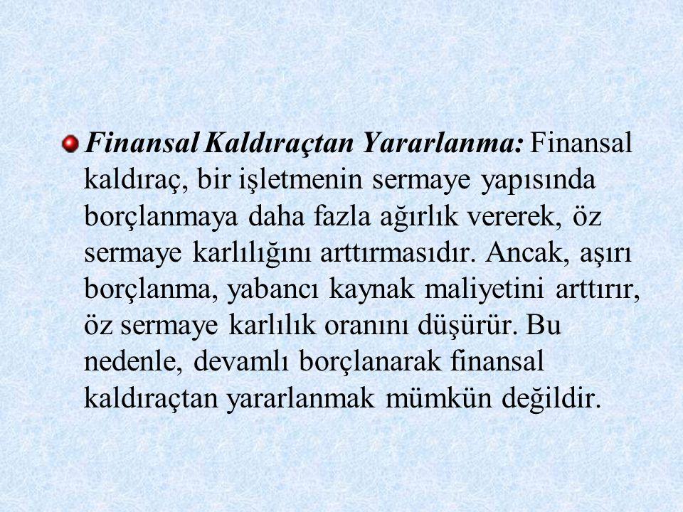 Finansal Kaldıraçtan Yararlanma: Finansal kaldıraç, bir işletmenin sermaye yapısında borçlanmaya daha fazla ağırlık vererek, öz sermaye karlılığını arttırmasıdır.