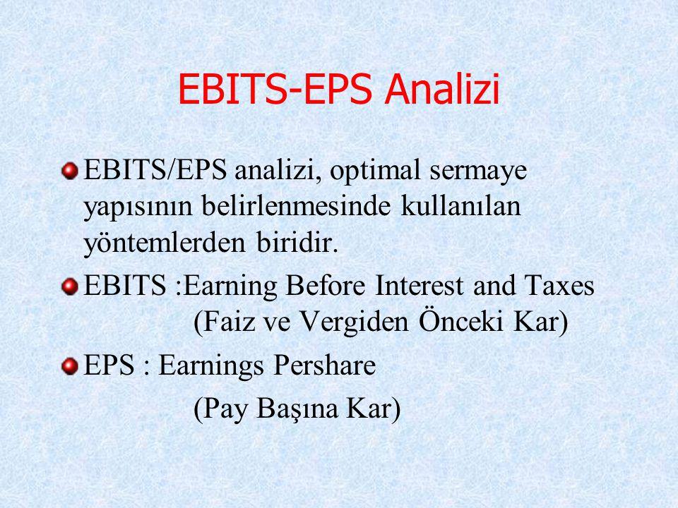 EBITS-EPS Analizi EBITS/EPS analizi, optimal sermaye yapısının belirlenmesinde kullanılan yöntemlerden biridir. EBITS :Earning Before Interest and Tax