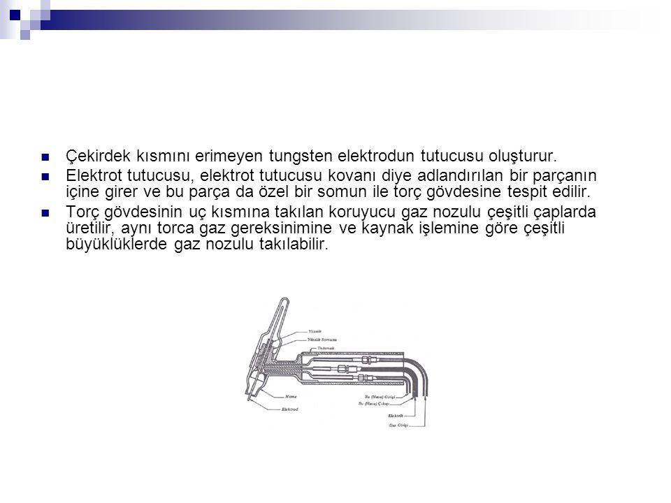 Çekirdek kısmını erimeyen tungsten elektrodun tutucusu oluşturur.