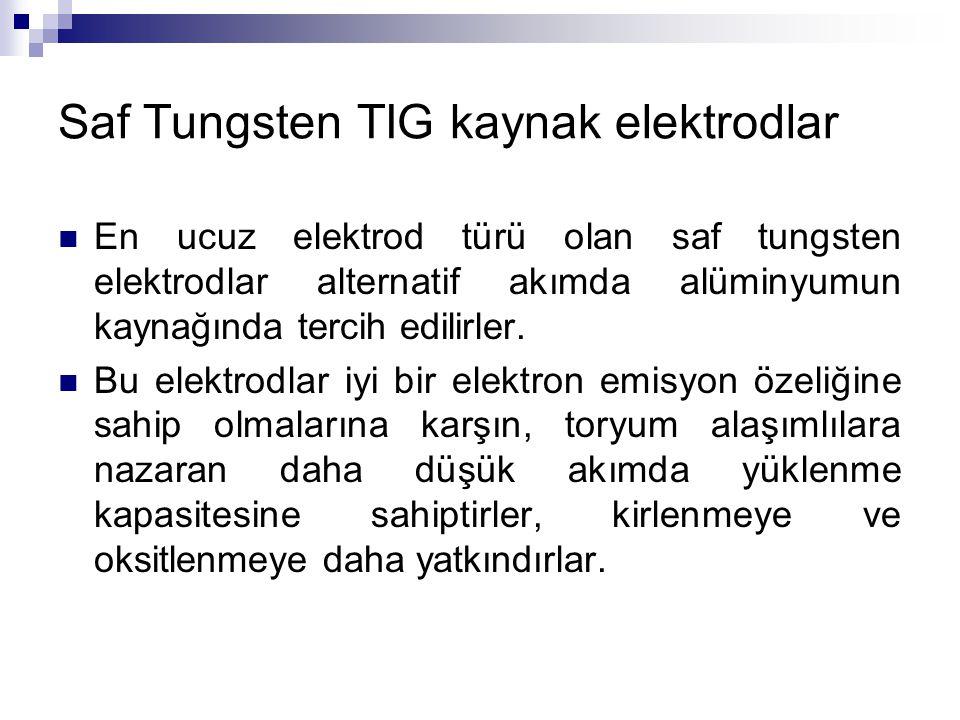 Saf Tungsten TIG kaynak elektrodlar En ucuz elektrod türü olan saf tungsten elektrodlar alternatif akımda alüminyumun kaynağında tercih edilirler. Bu