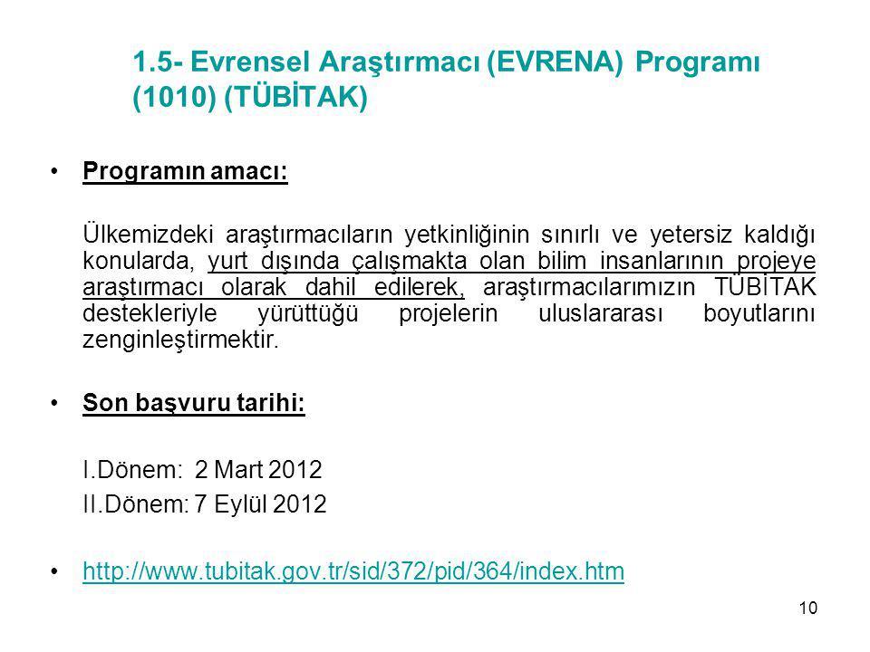 1.5- Evrensel Araştırmacı (EVRENA) Programı (1010) (TÜBİTAK) Programın amacı: Ülkemizdeki araştırmacıların yetkinliğinin sınırlı ve yetersiz kaldığı k