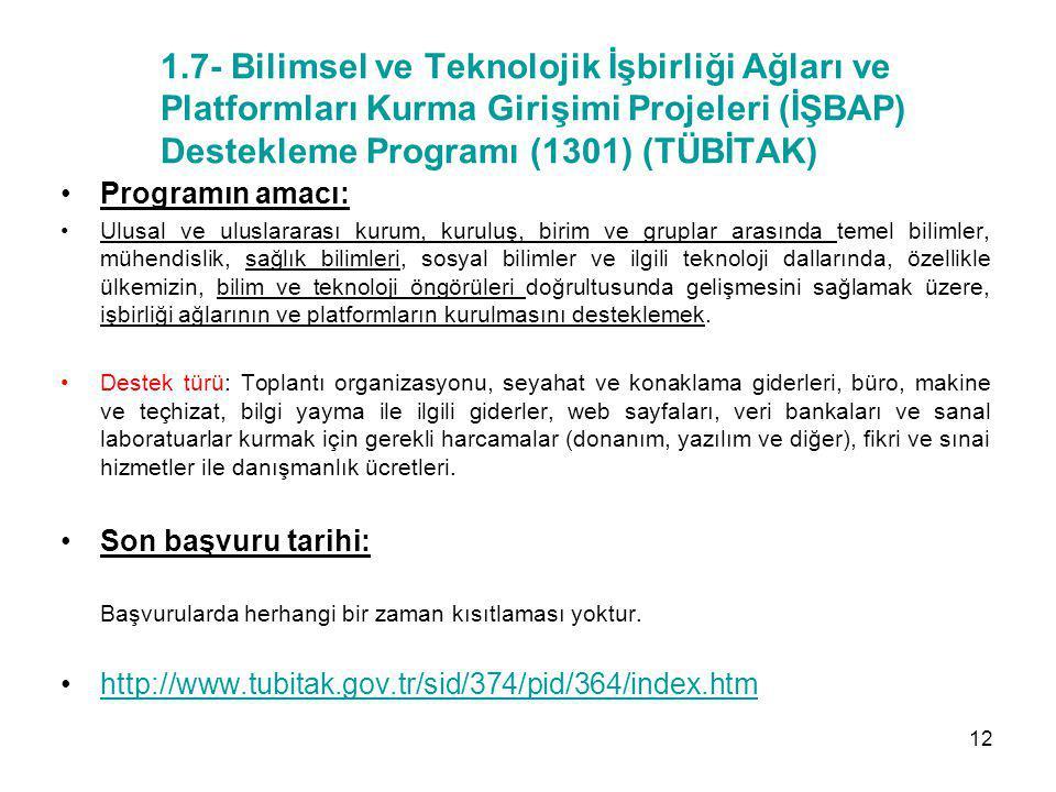 1.7- Bilimsel ve Teknolojik İşbirliği Ağları ve Platformları Kurma Girişimi Projeleri (İŞBAP) Destekleme Programı (1301) (TÜBİTAK) Programın amacı: Ul