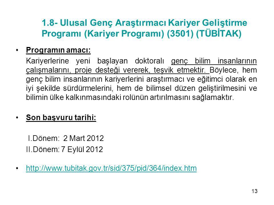 1.8- Ulusal Genç Araştırmacı Kariyer Geliştirme Programı (Kariyer Programı) (3501) (TÜBİTAK) Programın amacı: Kariyerlerine yeni başlayan doktoralı ge