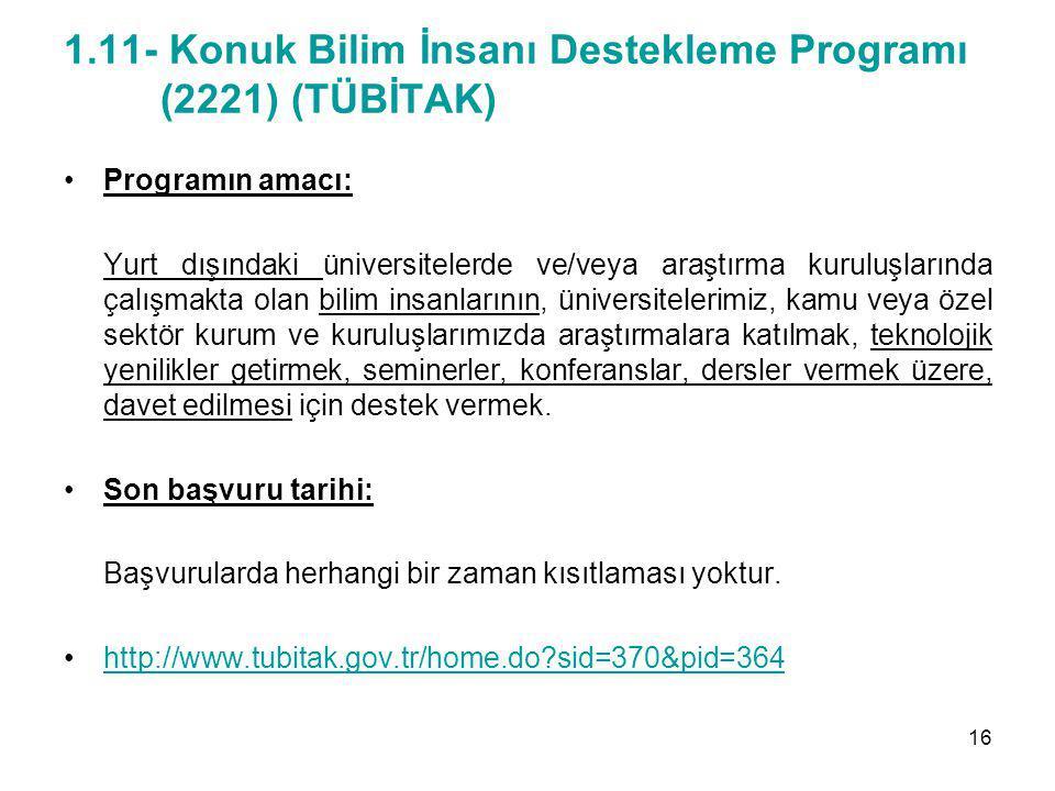 1.11- Konuk Bilim İnsanı Destekleme Programı (2221) (TÜBİTAK) Programın amacı: Yurt dışındaki üniversitelerde ve/veya araştırma kuruluşlarında çalışma
