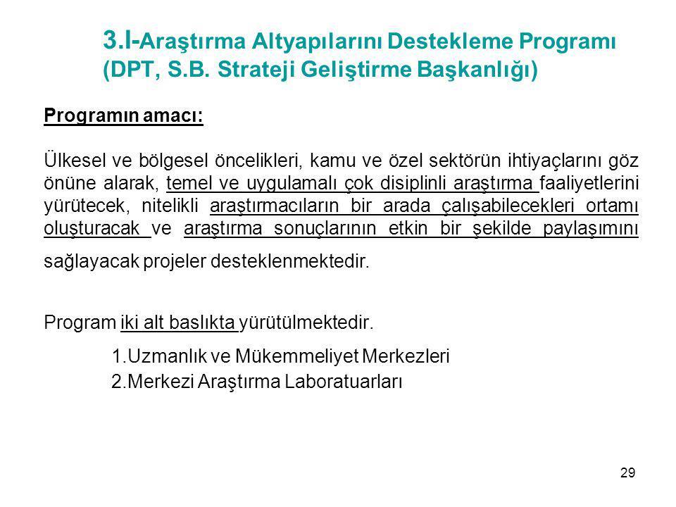 3.I- Araştırma Altyapılarını Destekleme Programı (DPT, S.B. Strateji Geliştirme Başkanlığı) Programın amacı: Ülkesel ve bölgesel öncelikleri, kamu ve