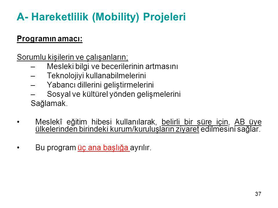 A- Hareketlilik (Mobility) Projeleri Programın amacı: Sorumlu kişilerin ve çalışanların; –Mesleki bilgi ve becerilerinin artmasını –Teknolojiyi kullan