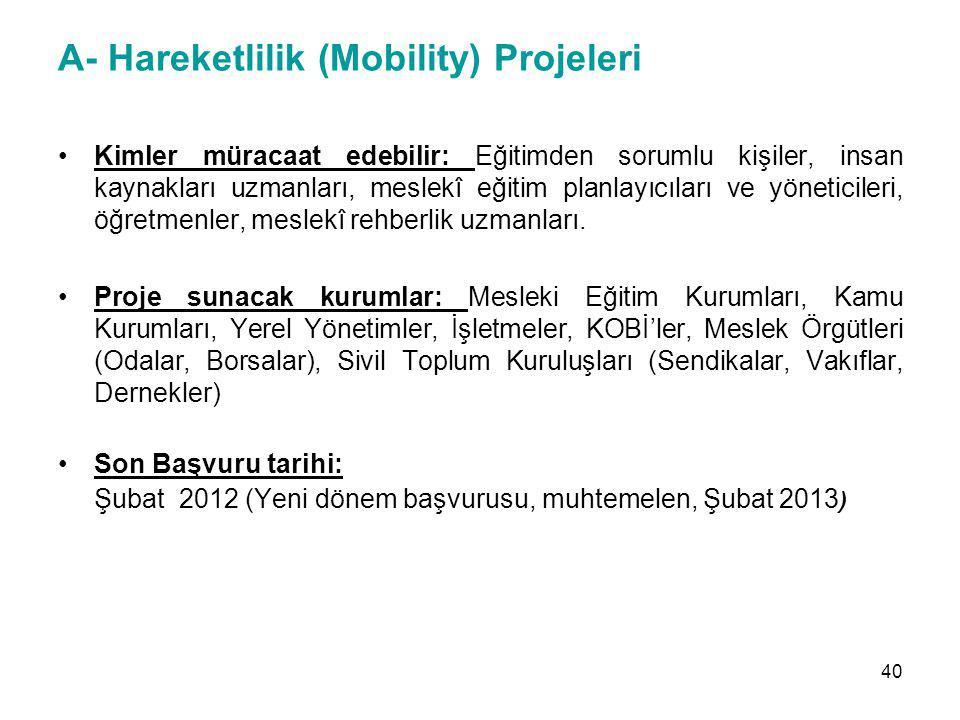 A- Hareketlilik (Mobility) Projeleri Kimler müracaat edebilir: Eğitimden sorumlu kişiler, insan kaynakları uzmanları, meslekî eğitim planlayıcıları ve