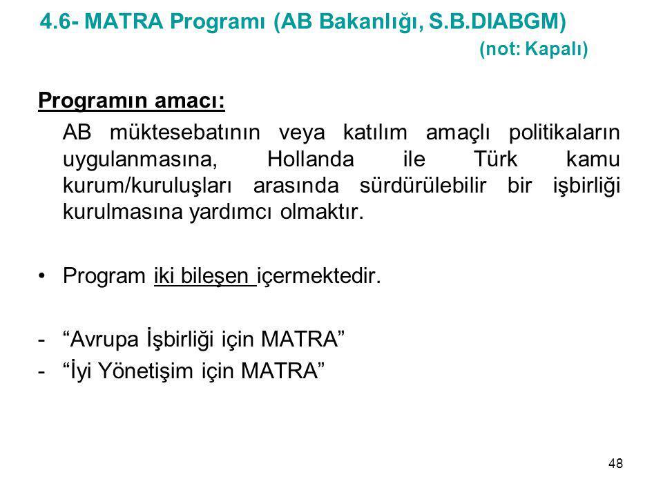 4.6- MATRA Programı (AB Bakanlığı, S.B.DIABGM) (not: Kapalı) Programın amacı: AB müktesebatının veya katılım amaçlı politikaların uygulanmasına, Holla