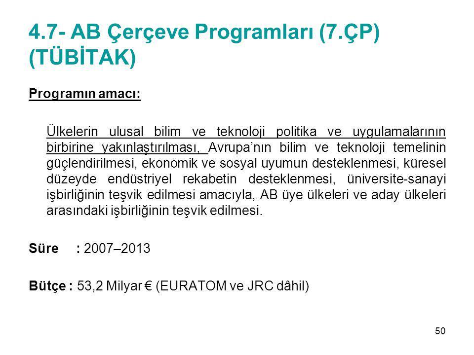 4.7- AB Çerçeve Programları (7.ÇP) (TÜBİTAK) Programın amacı: Ülkelerin ulusal bilim ve teknoloji politika ve uygulamalarının birbirine yakınlaştırılm