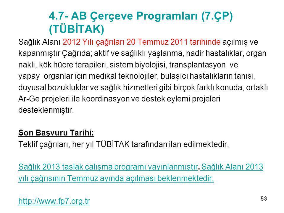 4.7- AB Çerçeve Programları (7.ÇP) (TÜBİTAK) Sağlık Alanı 2012 Yılı çağrıları 20 Temmuz 2011 tarihinde açılmış ve kapanmıştır Çağrıda; aktif ve sağlık