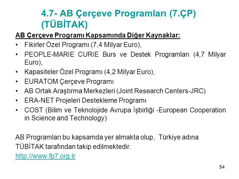 4.7- AB Çerçeve Programları (7.ÇP) (TÜBİTAK) AB Çerçeve Programı Kapsamında Diğer Kaynaklar: Fikirler Özel Programı (7,4 Milyar Euro), PEOPLE-MARIE CU