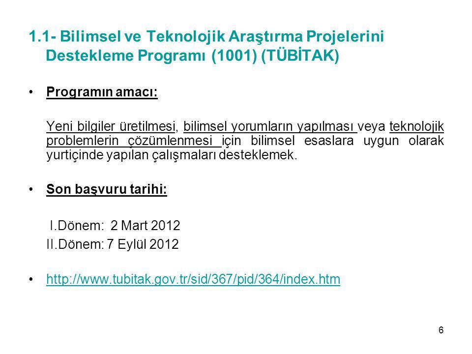 1.1- Bilimsel ve Teknolojik Araştırma Projelerini Destekleme Programı (1001) (TÜBİTAK) Programın amacı: Yeni bilgiler üretilmesi, bilimsel yorumların