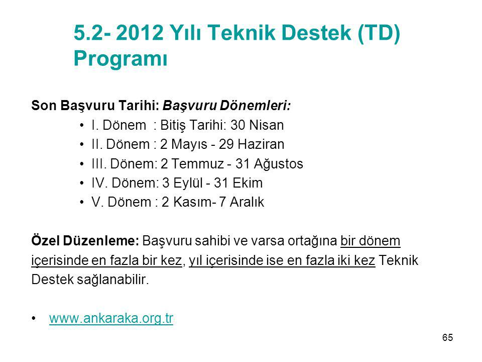 5.2- 2012 Yılı Teknik Destek (TD) Programı Son Başvuru Tarihi: Başvuru Dönemleri: I. Dönem : Bitiş Tarihi: 30 Nisan II. Dönem : 2 Mayıs - 29 Haziran I