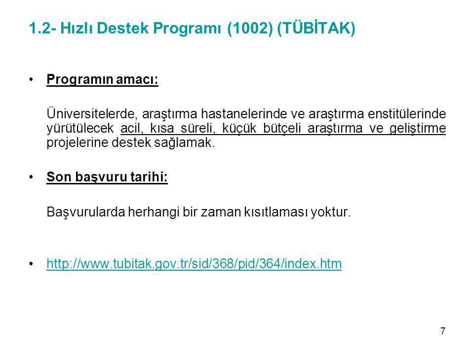 1.2- Hızlı Destek Programı (1002) (TÜBİTAK) Programın amacı: Üniversitelerde, araştırma hastanelerinde ve araştırma enstitülerinde yürütülecek acil, k