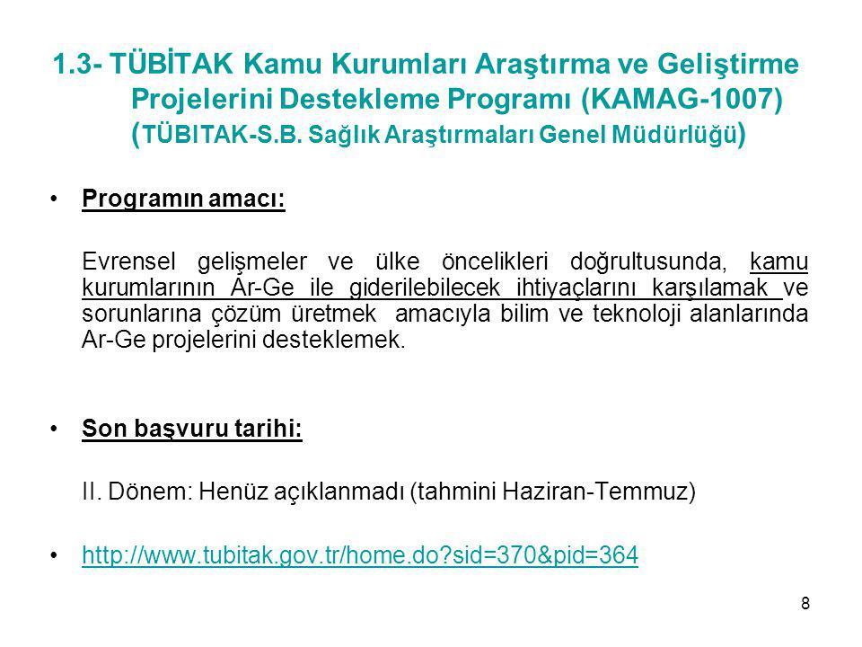 1.4- Patent Başvurusu Teşvik ve Destekleme Programı (1008) (TÜBİTAK) Programın amacı: Türkiye'nin ulusal ve uluslararası patent başvuru sayısının arttırılması, kişilerin patent başvuru yapmaya teşvik edilmesi ve ülkemizde fikri ve sınai hakların tescili yönünde bilinçlenmeye katkıda bulunmak.
