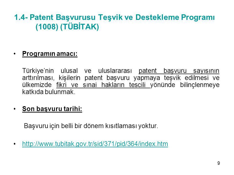 1.4- Patent Başvurusu Teşvik ve Destekleme Programı (1008) (TÜBİTAK) Programın amacı: Türkiye'nin ulusal ve uluslararası patent başvuru sayısının artt