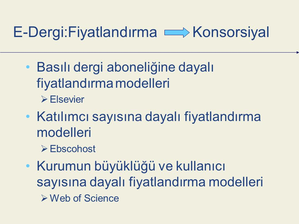 Basılı dergi aboneliğine dayalı fiyatlandırmamodelleri  Elsevier Katılımcı sayısına dayalı fiyatlandırma modelleri  Ebscohost Kurumun büyüklüğü ve kullanıcı sayısına dayalı fiyatlandırma modelleri  Web of Science E-Dergi:FiyatlandırmaKonsorsiyal