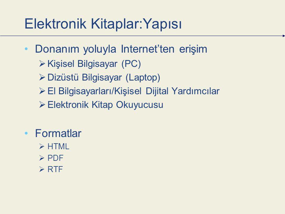Elektronik Kitaplar:Yapısı Donanım yoluyla Internet'ten erişim  Kişisel Bilgisayar (PC)  Dizüstü Bilgisayar (Laptop)  El Bilgisayarları/Kişisel Dijital Yardımcılar  Elektronik Kitap Okuyucusu Formatlar  HTML  PDF  RTF