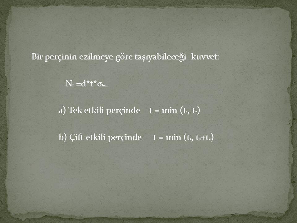 Bir perçinin ezilmeye göre taşıyabileceği kuvvet: N t =d*t*σ lem a) Tek etkili perçinde t = min (t 1, t 2 ) b) Çift etkili perçinde t = min (t 1, t 2 +t 3 )