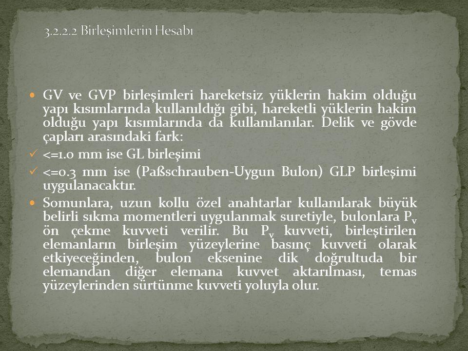 GV ve GVP birleşimleri hareketsiz yüklerin hakim olduğu yapı kısımlarında kullanıldığı gibi, hareketli yüklerin hakim olduğu yapı kısımlarında da kullanılanılar.