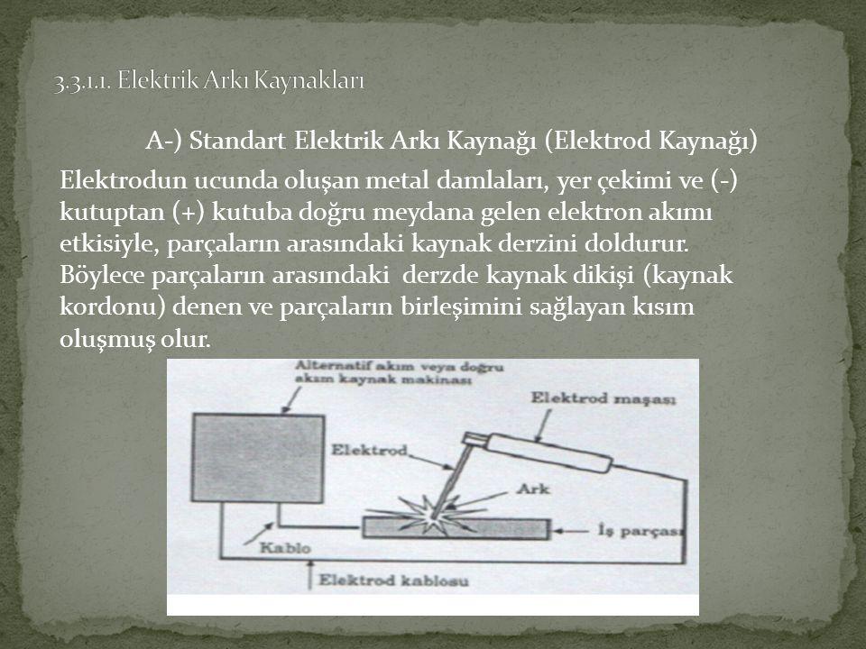 A-) Standart Elektrik Arkı Kaynağı (Elektrod Kaynağı) Elektrodun ucunda oluşan metal damlaları, yer çekimi ve (-) kutuptan (+) kutuba doğru meydana gelen elektron akımı etkisiyle, parçaların arasındaki kaynak derzini doldurur.