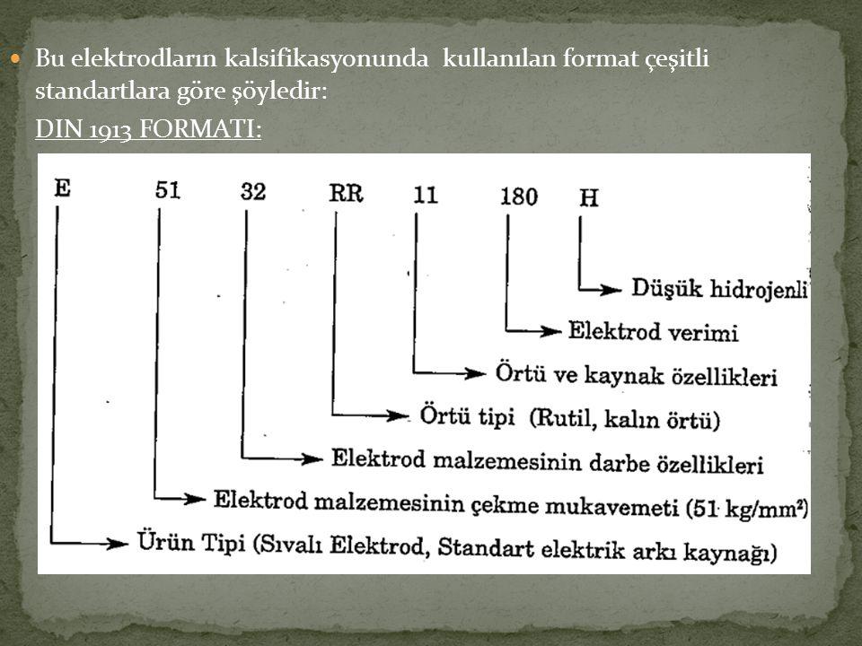 Bu elektrodların kalsifikasyonunda kullanılan format çeşitli standartlara göre şöyledir: DIN 1913 FORMATI: