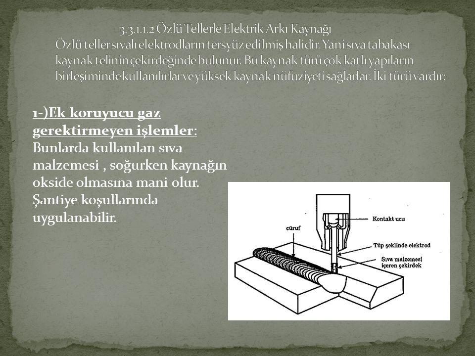 1-)Ek koruyucu gaz gerektirmeyen işlemler: Bunlarda kullanılan sıva malzemesi, soğurken kaynağın okside olmasına mani olur.