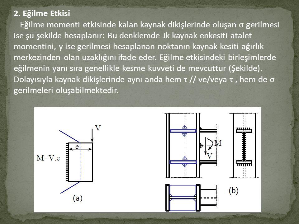 2. Eğilme Etkisi Eğilme momenti etkisinde kalan kaynak dikişlerinde oluşan σ gerilmesi ise şu şekilde hesaplanır: Bu denklemde Jk kaynak enkesiti atal