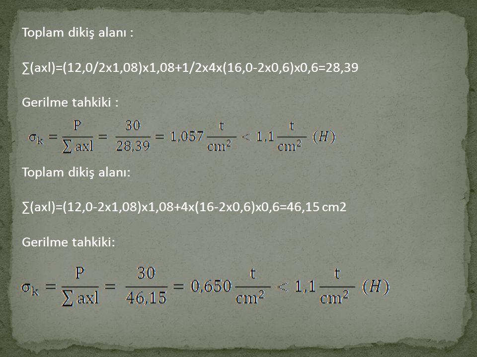Toplam dikiş alanı : ∑(axl)=(12,0/2x1,08)x1,08+1/2x4x(16,0-2x0,6)x0,6=28,39 Gerilme tahkiki : Toplam dikiş alanı: ∑(axl)=(12,0-2x1,08)x1,08+4x(16-2x0,6)x0,6=46,15 cm2 Gerilme tahkiki:
