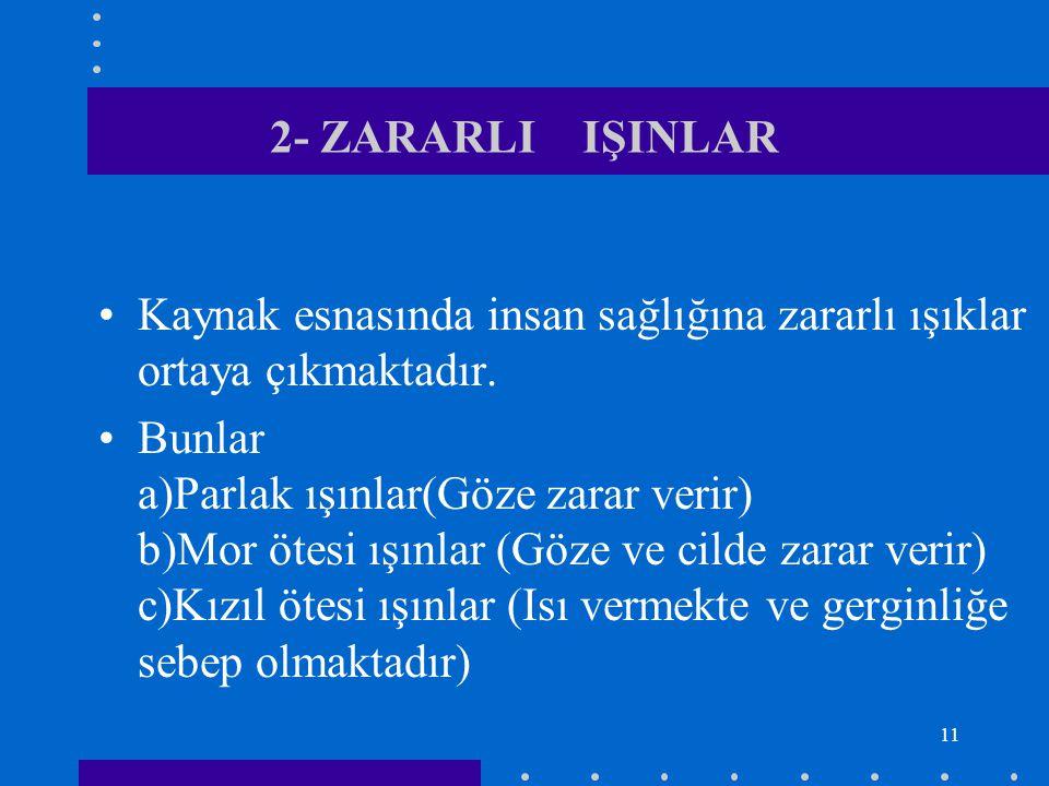 11 2- ZARARLI IŞINLAR Kaynak esnasında insan sağlığına zararlı ışıklar ortaya çıkmaktadır. Bunlar a)Parlak ışınlar(Göze zarar verir) b)Mor ötesi ışınl