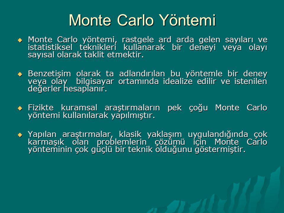 Monte Carlo Yöntemi  Monte Carlo yöntemi, rastgele ard arda gelen sayıları ve istatistiksel teknikleri kullanarak bir deneyi veya olayı sayısal olara