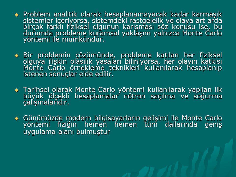 Temel Monte Carlo İlkesi  Bir deney veya ölçme bir olay olarak tanımlanabilir.
