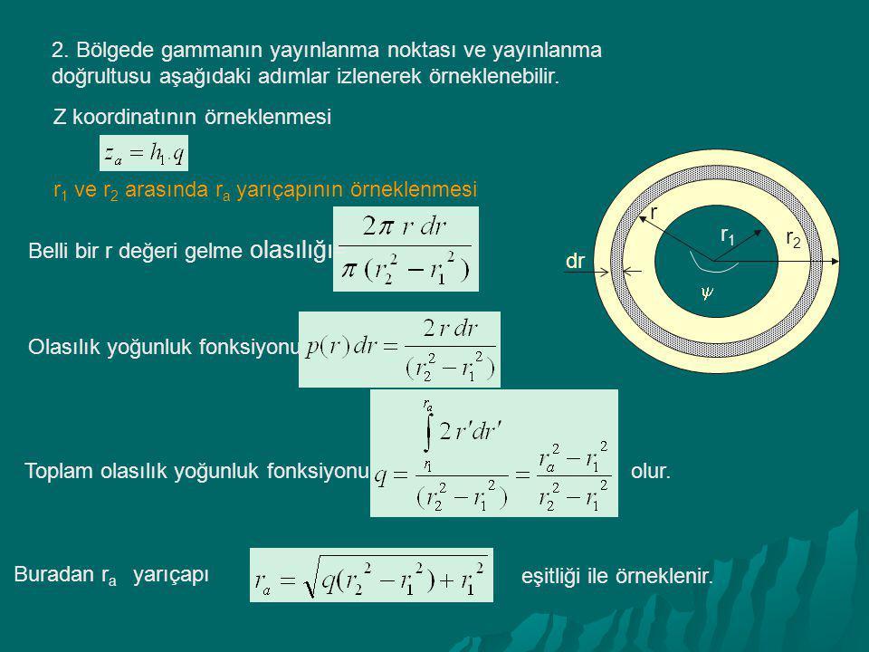 2. Bölgede gammanın yayınlanma noktası ve yayınlanma doğrultusu aşağıdaki adımlar izlenerek örneklenebilir. Z koordinatının örneklenmesi r 1 ve r 2 ar