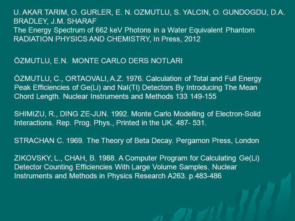 U. AKAR TARIM, O. GURLER, E. N. OZMUTLU, S. YALCIN, O. GUNDOGDU, D.A. BRADLEY, J.M. SHARAF The Energy Spectrum of 662 keV Photons in a Water Equivalen