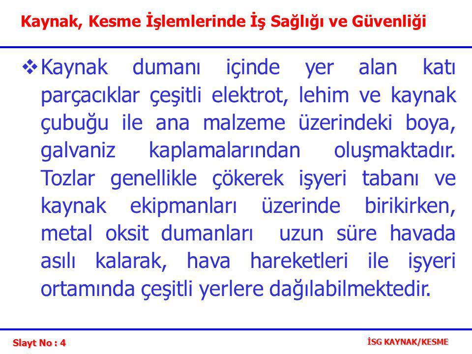 Slayt No : 15 İSG KAYNAK/KESME Berilyum; Çok zararlı bir maddedir.